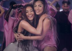 "Ariana Grande, left, and Lady Gaga, right, in the ""Rain on Me"" music video."