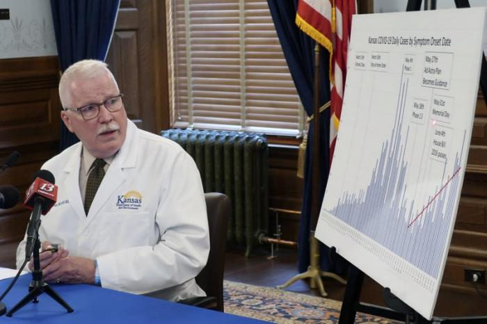 Dr. Lee Norman, top administrator at the Kansas Department of Health and Environment, uses a pointer to highlight a recent surge in coronavirus cases, Wednesday, July 1, 2020, at the Statehouse in Topeka, Kan.