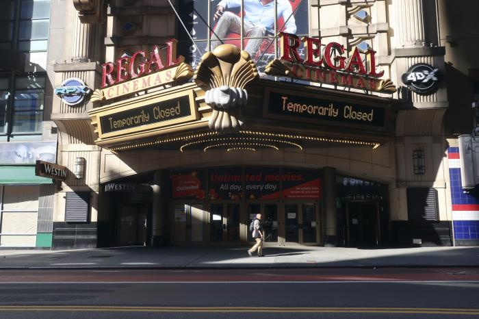 A Regal Cinemas movie theater is temporarily closed during the coronavirus pandemic in New York.