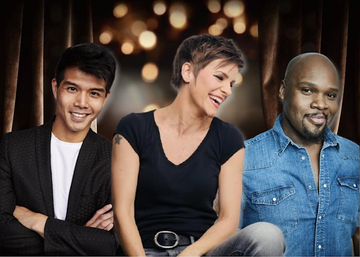 (l to r) Telly Leung, Jenn Colella and Michael James Scott.