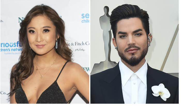 Ashley Park, left, and Adam Lambert, right.