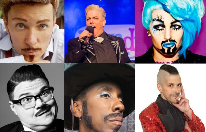 Clockwise from upper left: MC Mo B Dick, Leigh Crow, Sexy Galexy, Fudgie Frottage, Luster Dela Virgion and Murray Hill are among the many drag kings in the Legends show.