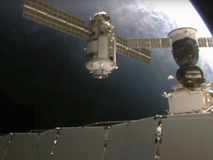 In this photo provided by Roscosmos Space Agency Press Service, the Nauka module is seen prior to docking with the International Space Station on Thursday, July 29, 2021