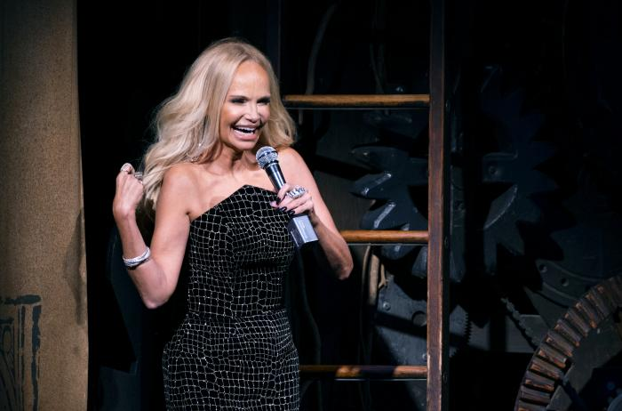 """Actress Kristin Chenoweth gives the curtain speech on the stage of """"Wicked"""" at the Gershwin Theatre Tuesday, Sept. 14, 2021, in New York"""