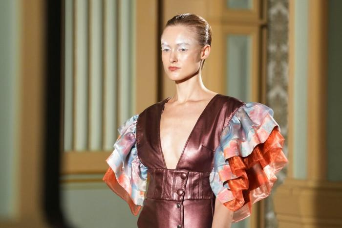 A model wears a creation of Francesca Liberatore Spring Summer 2022 collection.