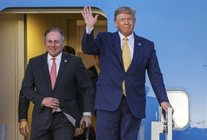 In this Friday, Oct. 11, 2019, file photo, President Donald Trump and House Minority Whip Steve Scalise, R-La., arrive in Lake Charles, La.